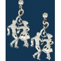 Square Dancers Earrings with Austrian Crystal, Silver